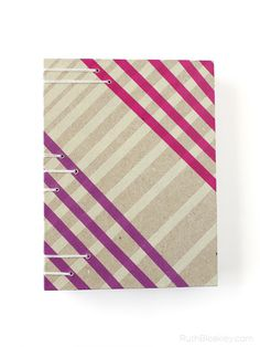 Purple and Pink Washi Tape Striped Handmade Book by Ruth Bleakley