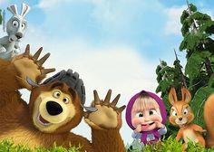 Veja o que temos para Masha and The Bear Invitations Bear Birthday, 2nd Birthday Parties, 4th Birthday, Masha Et Mishka, Marsha And The Bear, Bear Theme, Bear Wallpaper, Bear Party, Bear Toy
