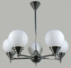 Chrome Madison 5 Light Pendant with Opal Gloss Sphere Glass
