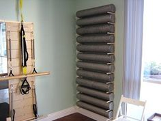 """Amazon.com : Foam Roller and Yoga Mat Storage Rack Wall Mount in Birch Hardwood (84"""" 12-space) : Sports & Outdoors"""