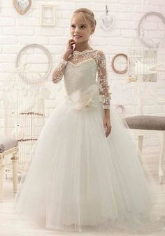 e8a0c5973 New custom white ivory sheer lace long sleeves flower girl dresses elegant  tulle first communion gown formal occasion 2017 new-in Dresses from Mother    Kids ...