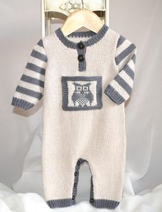 (6) Name: 'Knitting : 'Lil Hoot' Onesie P084