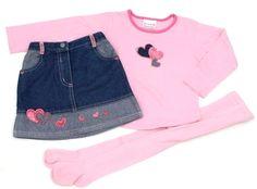 3-tlg. Kombination für Mädchen: Jeansrock, Langarmshirt, Strumpfhose, Größe: 98  englische Mode