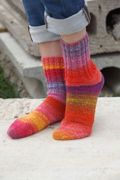 Hand knitted women wool Socks colorful stripes autumn fashion red pink Noro. $49.00, via Etsy.