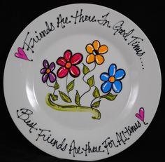 Best Friends gift or bridesmaid gift by HermansCreations Sharpie Plates, Sharpie Art, Sharpie Markers, Painted Mugs, Painted Plates, Painted Pottery, Pottery Painting Designs, Pottery Designs, Pottery Ideas