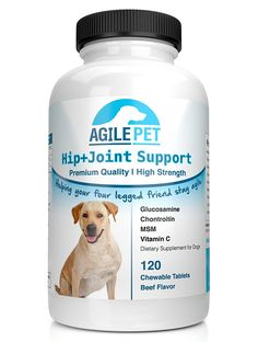 Agile Pet BEST PREMIUM Extra Strength Glucosamine for Dogs - Hip and Joint Supplement - 120 count - 800mg Glucosamine with Chondroitin, MSM and Vit C for Health and Mobility - Large and Small Dogs ** See this great image  (This is an amazon affiliate link. I may earn commission from it)