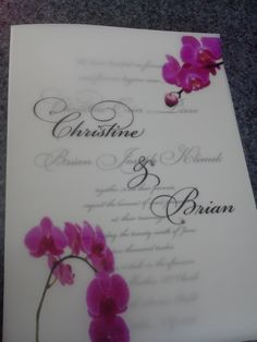 7x5 White and Vellum Wedding Invitation with Pink ribbon, pink miniature swarovski crystals and Pocket on back. $5.00, via Etsy.