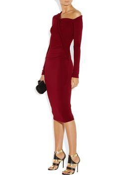 Donna Karan|Modern Icons asymmetric stretch-jersey dress|NET-A-PORTER.COM
