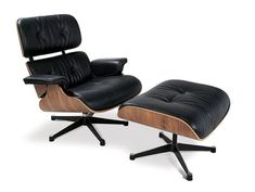 "Charles and Ray Eames designed the Lounge and Ottoman — arguably the most famous chair in furniture design history. Created for Herman Miller, Charles said the idea was to design a chair with the ""warm, receptive look of a well-used first baseman's mitt."""