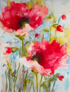 "Saatchi Art Artist: Karin Johannesson; Watercolor 2014 Painting ""Dreamy Poppies IV"""
