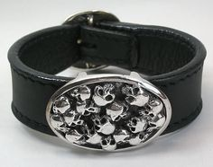 Skull Silver Leather Bracelets. Handmade watch design with multi skull leather mens bracelet.