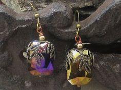 Iridescent  drop earrings - Iridescent  gold-purple dangle earrings vintage inspired earrings crystal earrings elegant dangle earrings (12.50 USD) by GlobalBrights