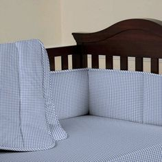 Blue Gingham Baby Bedding   Blue Gingham Crib Bedding Collection for Boys   Carousel Designs $94