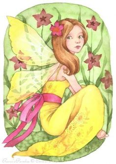 Renee's Paradise, Fairy art by Carmen Keys Medlin. Little Fairy Renee poses with her favorite flowers in a tropical paradise. Angel Illustration, Kobold, Fairy Pictures, Cute Fairy, Artist Portfolio, Beautiful Fairies, Flower Fairies, Angel Art, Fairy Land