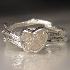 Raw Diamond  Ring White Raw Diamond Engagement Ring by artifactum