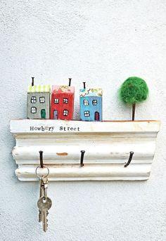 super cute use of scrap wood a wall key rack
