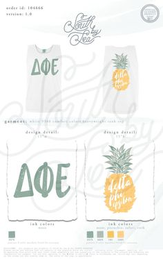 Delta Phi Epsilon | DPhiE | Pineapple Shirt Design | South by Sea | Greek Tee Shirts | Greek Tank Tops | Custom Apparel Design | Custom Greek Apparel | Sorority Tee Shirts | Sorority Tanks | Sorority Shirt Designs