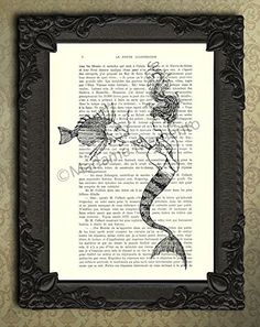 Mermaid Feeding Fish Poster Antique Sealife Illustration Book Page Artwork, Dictionary Art Print, Shabby Chic Decorations Wall Decor. Each illustration is printed on a beautiful antique book page from a French magazine called La Petite Illustration from around 1910. Please keep in mind that you will not get the exact same page as shown in the image, but you will get a similar antique book page from the same magazine. Each print is unique. You definitely have something to talk about with…