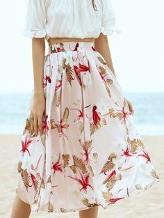 Elastic Waist Drawstring Floral Print High Waist A-Line Skirt