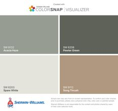 I found these colors with ColorSnap® Visualizer for iPhone by Sherwin-Williams: Acacia Haze (SW Spare White (SW Pewter Green (SW Song Thrush (SW Green Paint Colors, Paint Color Schemes, Room Paint Colors, Paint Colors For Home, Wall Colors, Beige House Exterior, House Exterior Color Schemes, Exterior Paint Colors For House, Exterior Doors