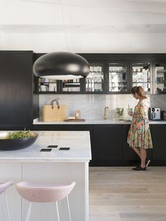 black kitchen designed by Christine Leja