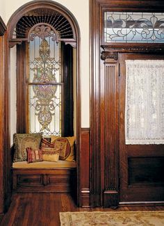 Buyer's Guide to Stained Glass - Old House Journal MagazineYou can find Victorian interiors and more on our website.Buyer's Guide to Stained Glass - Old House Journal Magazine Victorian House Interiors, Victorian Design, Victorian Decor, Victorian Windows, Victorian Era, Victorian Interior Doors, Victorian Curtains, Victorian Style Homes, Mansion Interior