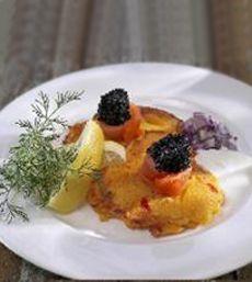 Salmon Pancakes With Smoked Salmon & Black Caviar
