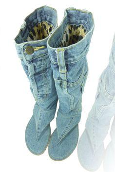 Jeans sandal boots handmade size US 95 Euro 41 by DaniKfashion, $140.00