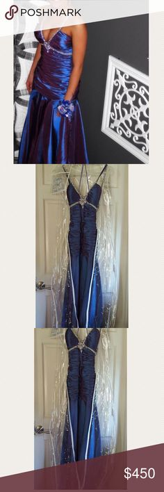 Iridescent Ruched Prom Dress (Jovani or Mac Duggal - can't remember which) Iridescent Blue / Purple Ruched Prom Dress. Beautiful dress, in very good condition! Size 1/2 Jovani Dresses Prom