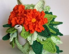 "Items similar to Hand knitted and crocheted tea cozy cosie ""Forestry miracle"" on Etsy Finger Knitting, Hand Knitting, Freeform Crochet, Crocheted Lace, Crochet Granny, Hand Crochet, Belleza Diy, Knitted Tea Cosies, Tea Blog"