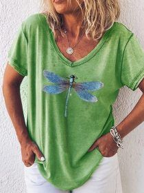 Dragonfly Printed V Neck Loose T-shirt - holapick.com Casual Tops, Casual Shirts, Casual Outfits, Shirts & Tops, Shirt Bluse, Fashion Now, Blouse Vintage, Short, V Neck Tops