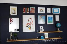 DIY Furniture : DIY Big reveal: B's blue wall - we built some shelves and made a gallery wall Big reveal: B's blue wall