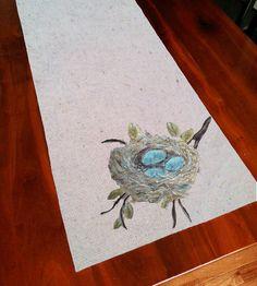 Table Runner, Spring Celebrations,  Robin's Nest, Robin's Eggs, Robin Blue, Spring, Summer,  Handmade Gifts,  Hand-painted