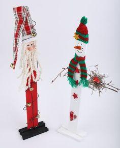 Cute! Frosty and Saint Nick Paint Stir Sticks