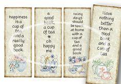 Printable Bookmark, Tea Bookmarks, Tea Party Favor, Digital Bookmarks, diy…