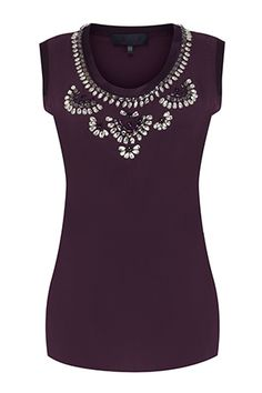 There's no need for a necklace with this classic Bastyan crystal embellished top in putty and aubergine. Team with your favourite blazer to add a touch of luxe, or team with skinny jeans and sandals for summer sophistication.