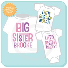 Set of Three Personalized Big Sister with Twin Baby Brother and Sister Tshirt and Two Onesies with Text (02272014c) on Etsy, $44.97