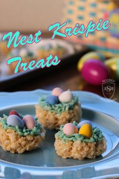 Nest Krispie Treats | Shared by Allergy Superheros | #NutFree #DairyFree #SoyFree #Kids #EggFree #EasterFavorites #PeanutFree