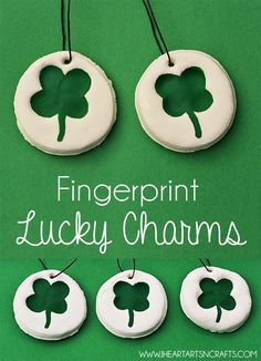Fingerprint Lucky Charms - With our 2 Ingredient no cook & non toxic white clay recipe make these easy Lucky Charm keepsakes!