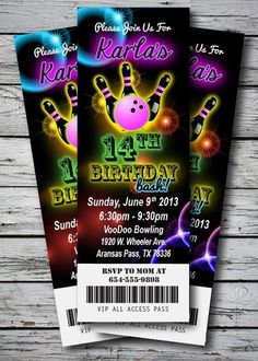 Free printable kids bowling party invitations download get this laser bowling glow pink neon birthday party invitation ticket stub bowl girl ebay filmwisefo