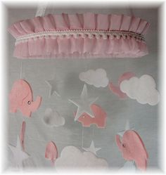 Jeweled Pink and White Elephant Star Cloud Mobile by lovebirdslane