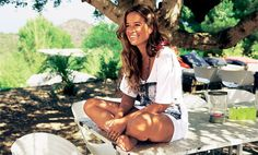 Factory Girl: Inside Jade Jagger's Ibiza beach home Jade Jagger, Mick Jagger, Ibiza Beach, Garden, Table, Garten, Mesas, Lawn And Garden, Outdoor