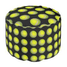Black_And_Yellow_Full_Print_Tennis_Balls_Pouffe Round Pouffe