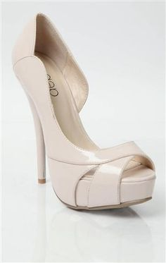 Deb Shops peep toe platform #pump in patent material and open side $32.50
