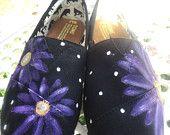 Custom hand painted TOMS, bohemian floral. $55.00, via Etsy.