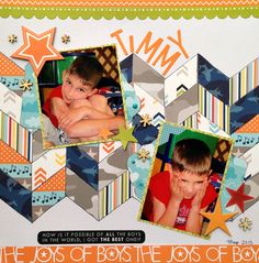 TIMMY, using paper piecing with my Chevron Border Set I created this fun layout!