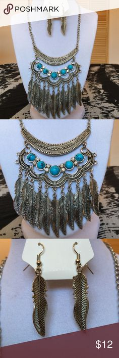 Silver Boho styled necklace & earring set Never worn blue stone / diamond / feather designs 4 layered necklace 4 inches In length Isbel Jewelry Necklaces