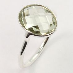 Real GREEN AMETHYST Gemstone 925 Solid Sterling Silver Lovely Ring Size US 6.75 #SunriseJewellers #Fashion
