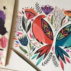 Maya Hanisch Beautiful folk-style bird and flower painting Illustration Blume, Scandinavian Folk Art, Guache, Colorful Artwork, Floral Illustrations, Mural Art, Gouache Painting, Quilting Designs, New Art