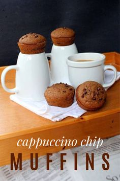 Try this amazing and easy Cappuccino Chip Muffins Recipe -- Includes a gluten-free muffin variation! Muffin Recipes, Cookie Recipes, Snack Recipes, Dessert Recipes, Desserts, Vegetarian Recipes, No Bake Treats, Yummy Treats, Sweet Treats